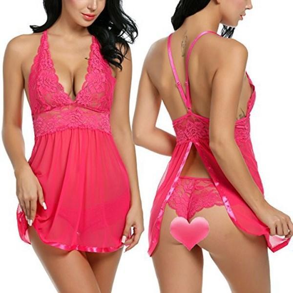 La vente de Designers dames de luxe européen dentelle dos-vêtements américaine nouvelle de pyjamas en maille dentelle transparente de lingerie a fendu lingeries sexy
