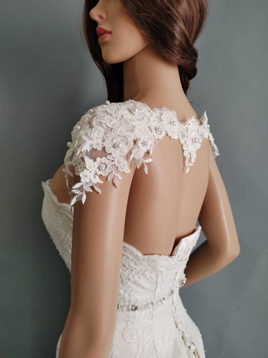 Pearls flower Cape Sewed Delicate beads, pearl lace necklace, bridal Shoulders Shawl, Cover Ups cape27