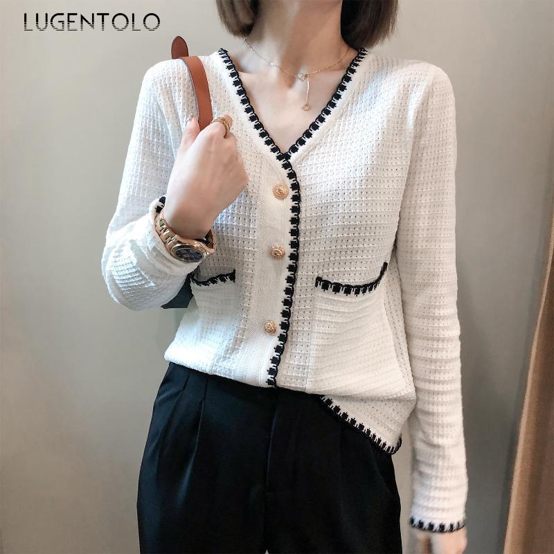 Shirt maglia di Lugentolo autunno delle donne a manica lunga camicetta Nuovo dolce con scollo a V Cardigan Pocket Top Elegante signora Tutto-fiammifero Camicie