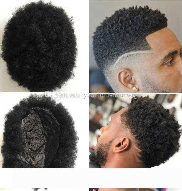 Men Hair System Afro Hair Toupee Men Hairpieces Super Full Thin Skin Toupee Jet Black#1 Brazilian Virgin Remy Human Hair Replacement for Men