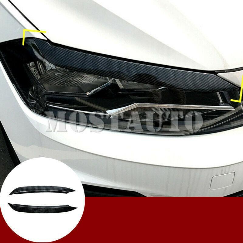 Para Volkswagen VW Polo MK6 carbono Estilo Faro de la ceja del párpado de la cubierta 2018-2020