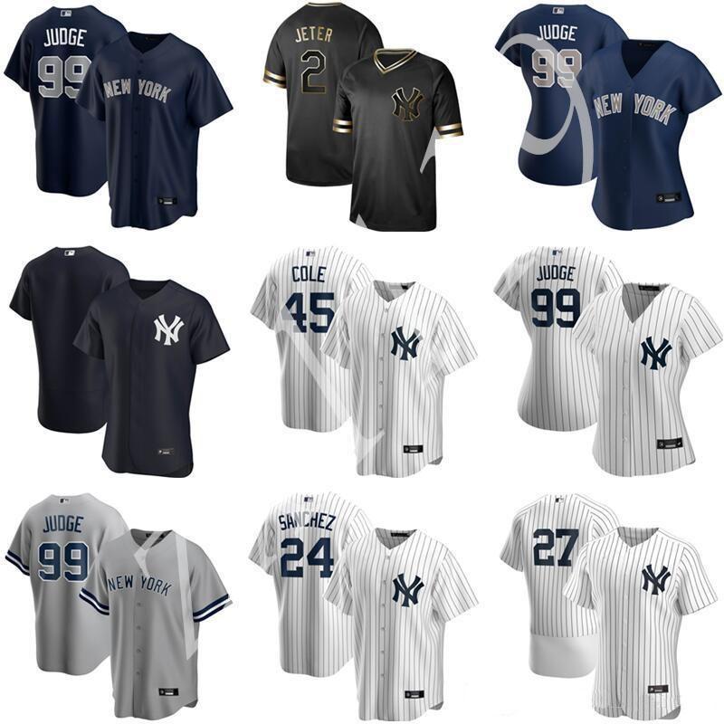 2020 Yankees Beyzbol 45 Gerrit Cole Jersey 2 Derek Jeter Gary Sanchez DJ Lemahieu Aaron Hakim Gleyber Torres Giancarlo Stanton Erkekler Kids Wom