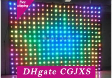 P18 4m 5m * Led Visão Cortina LED RGB Fireproof Led Vídeo Curtain Para Dj casamento Backdrops Off Line Mode Vídeo Cortina DMX Controller Llfa