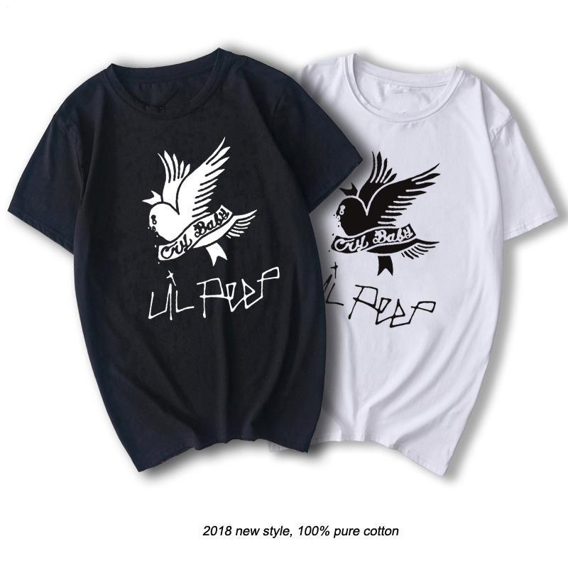 AB Boyut Streetwear Tişörtlü Erkekler Pamuk Kısa Kollu Tişört O-boyun Yüksek Kalite Siyah Yaz Tişört Hip Hop Tee Lil Peep Tops