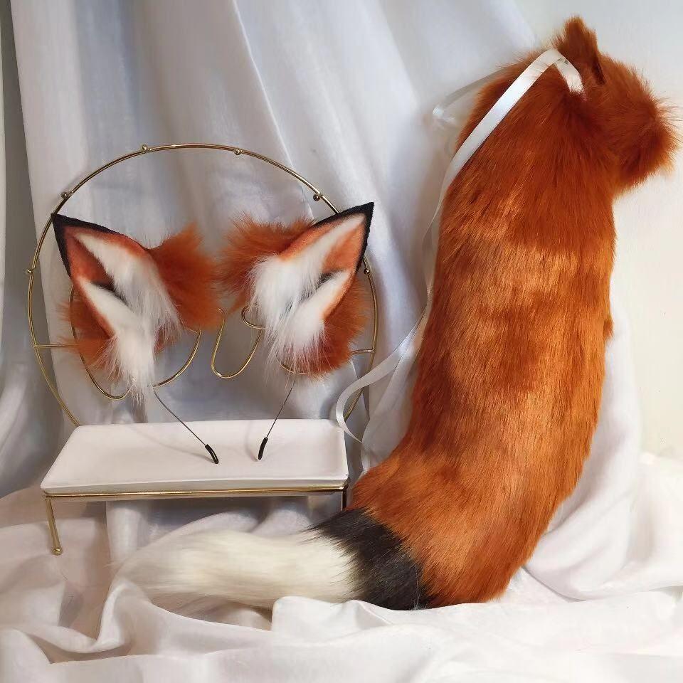 New Fox Red Anime Besta Ear Besta cauda do lobo da orelha do gato Fox Ear Headband personalizado COSPLAY CX200817