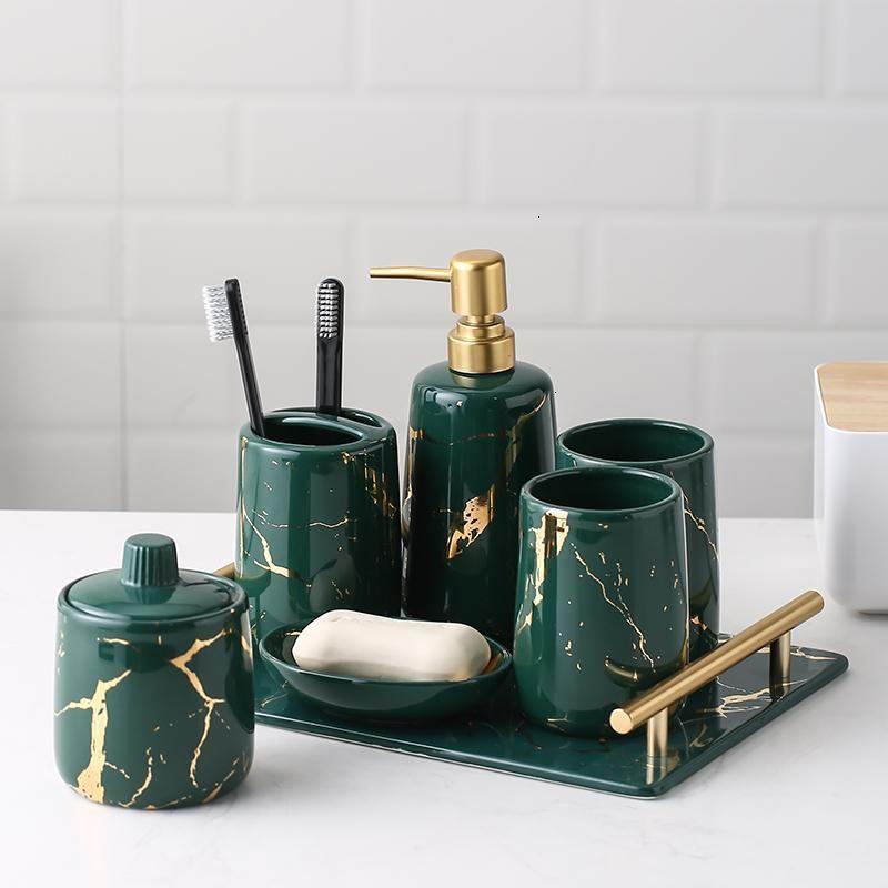 5 -wash seti Banyo tesislerinin ışık banyo seti gargara bardağı diş fırçası tutucu pamuklu çubuğun 6 -Görüntüler