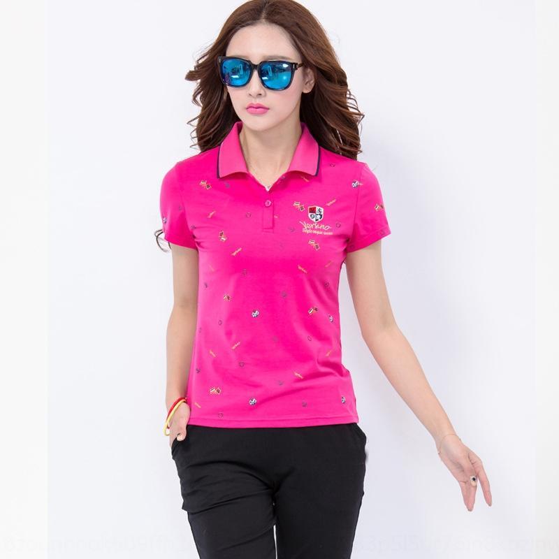 5v6bD camisa pólo suor 2020 T- suor solta moda de manga curta T- mulheres de Verão impresso grande tamanho da camisa de esportes de lapela para meia-idade