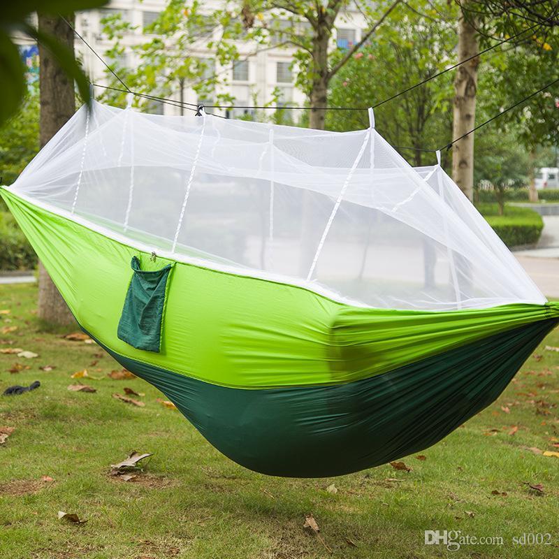 Oversize Hängematten im Freien Spielraum Camping handliche Hammock Tragbarer mit Moskitonetzen Lässige Robuste Nylon-Fallschirm Tuch New 43jq ZZ