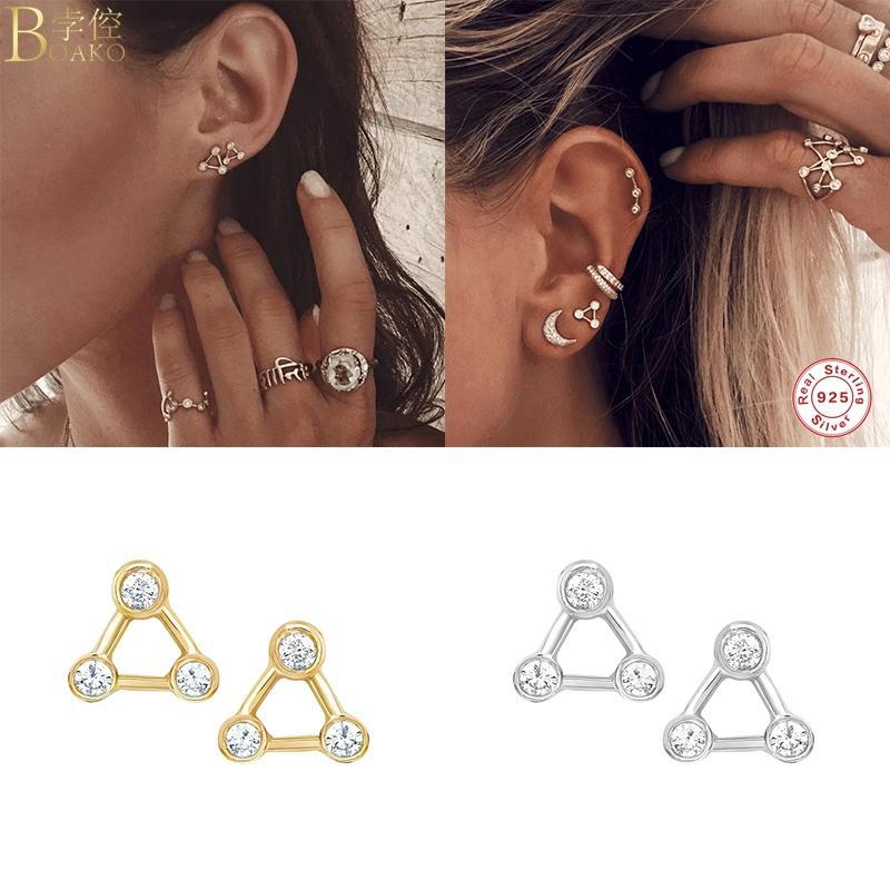 BOAKO Luxury Triangle Форма Plata De Ley 925 Bling серьги стержня для Mujer женщина любовников Обручальное стерлингового серебра Pendientes