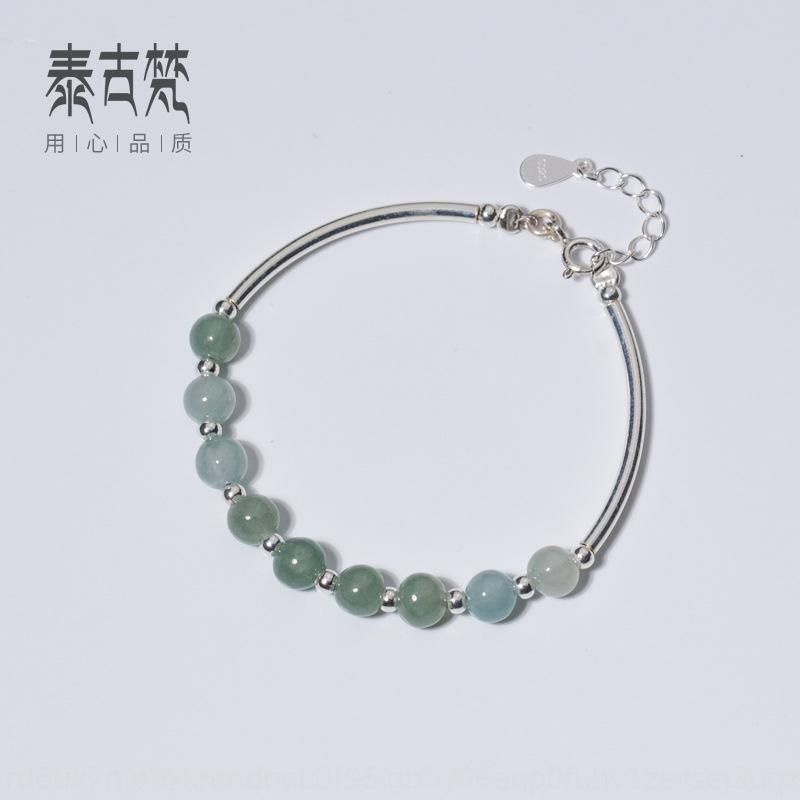 estilo de cristal de plata C0066 sencilla pulsera de mujer de la moda coreana de la joyería femenina colorido brazalete de cristal S925 U9pJb