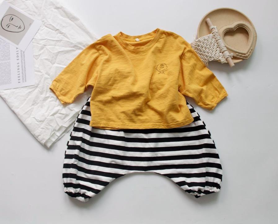 FM Korean News Ins Kids Kleine Mädchen Jungen Tees Langarm T-Shirt Herbst Cartoon Stickerei Reines Baumwolle Unisex Mädchen Top 1-8 Jahre