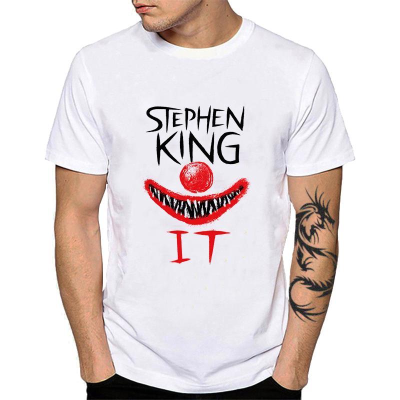 100% хлопок Фильмы ужасов Стивен Кинг IT Клоун тенниска Вы поплывет Too Мужской Топы Pennywise шар паук шеи рубашку YH053