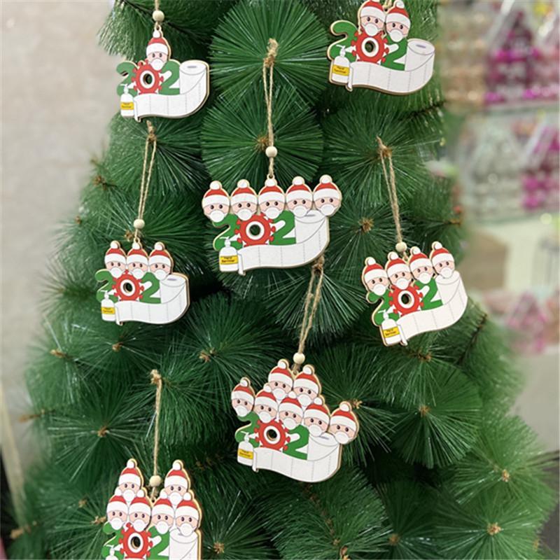 Decoração DHL Shipping Natal Criativo Família personalizada da árvore de Natal ornamento de suspensão com máscaras partido Sanitized mão presente B209F