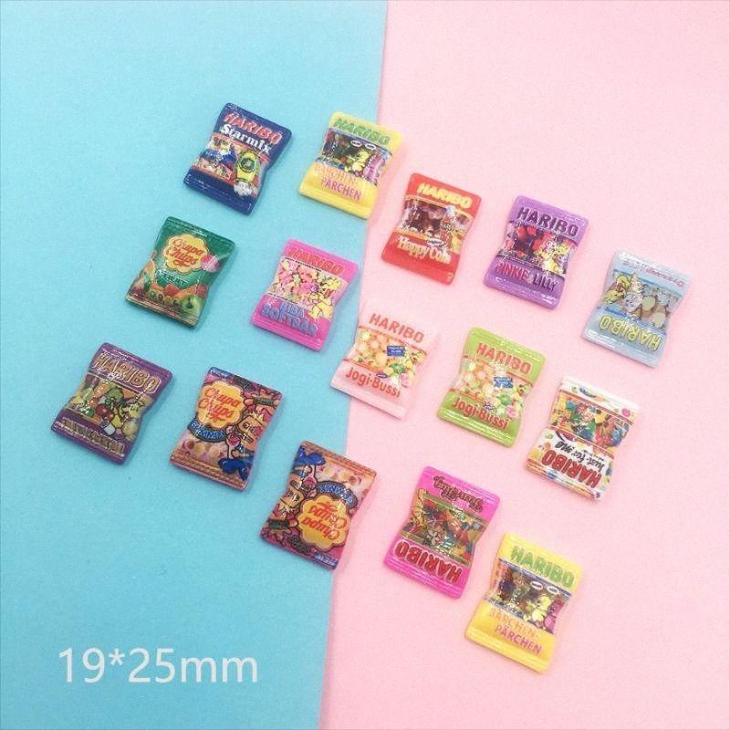 20Pcs Mini Cartoon Candy Flatback Resin Cabochon Simulation Fake Scrapbooking Fit Phone DIY Embellishments Accessories plNU#