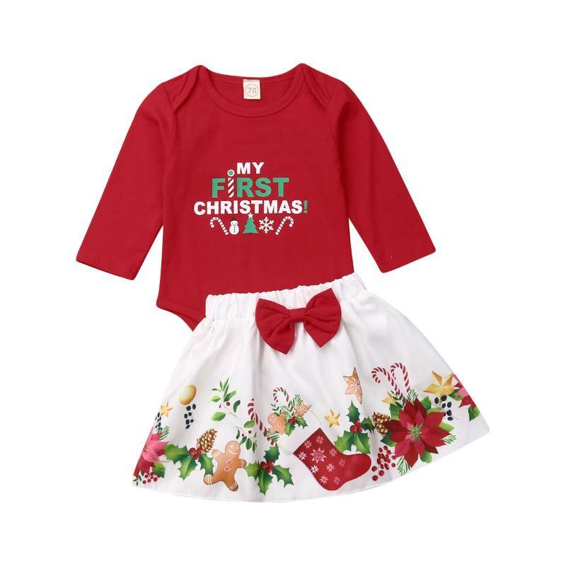Weihnachten 2Stk Set Prinzessin Baby-Kleidung Outfits Herbst Winter Erster Bodysuit + Rock-Satz für Weihnachten