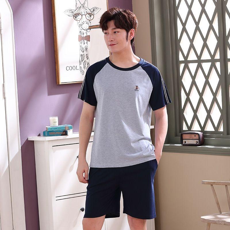 verão de Men gxscw de manga curta pijama de algodão estilo coreano casuais ao ar livre calções primavera casa vestir pijamas terno e outono