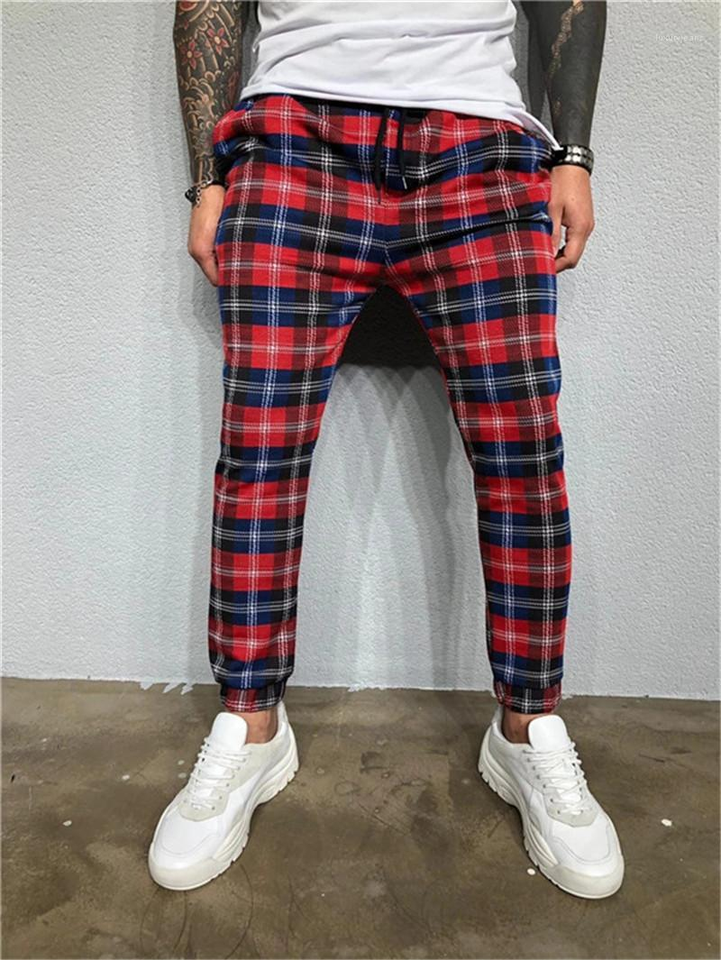 Kordelzug Bleistift-Hosen Mens Fashion Trainingshose Herren Designer-Hose 3D Plaid Printed Herbst beiläufige dünne