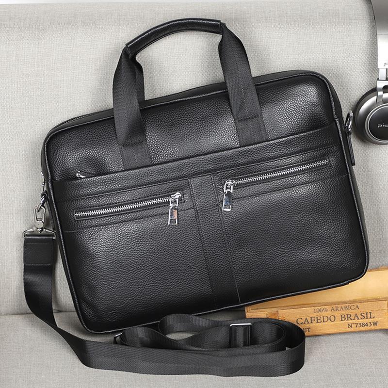 Man Briefcases 100% Genuine Leather Men Bag Handbag Casual Male Laptop Bag Shoulder Crossbody Bag Bussiness Briefcase Leather