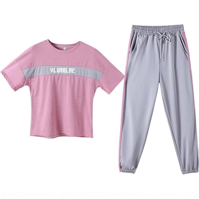 xuGWY a maniche corte sport vestito di usura estate 2020 a maniche corte sportiva due pezzi nuovo studente moda casual wear due pezzi delle donne
