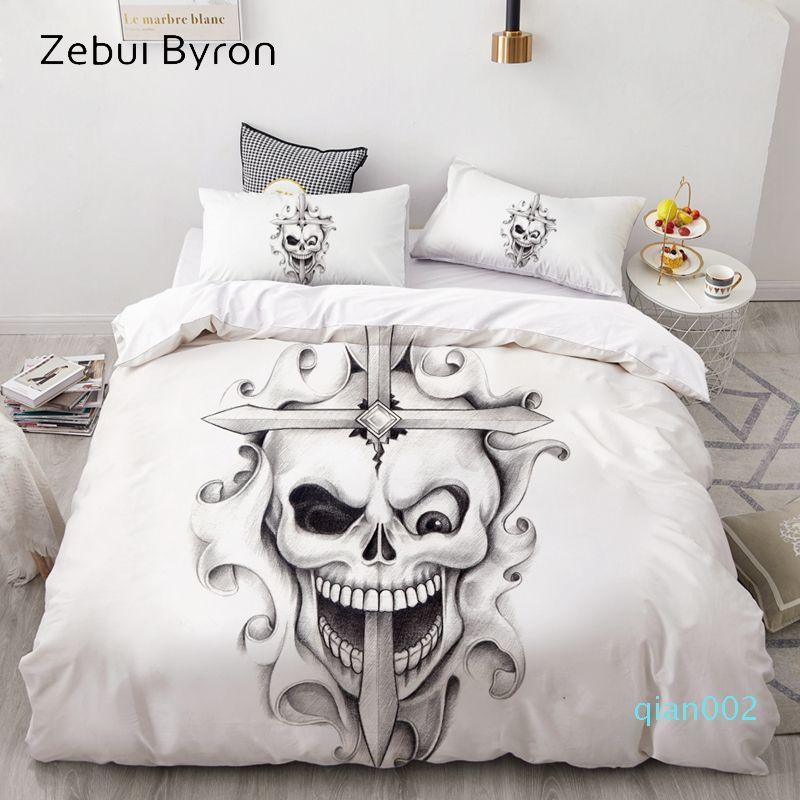 3D Duvet Cover Set Custom,Bedding Sets USA/AU/Europe/Queen/King,Quilt/Blanket Cover Set,bedclothes Cross Skull,drop ship