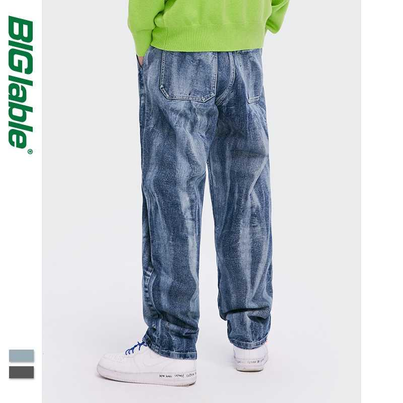 BIG LABLE Mens Jeans Relaxed Fit 2020 Fashion Weinlese-koreanische Denim Men Baggy Jeans Herren Stretch 3254W20