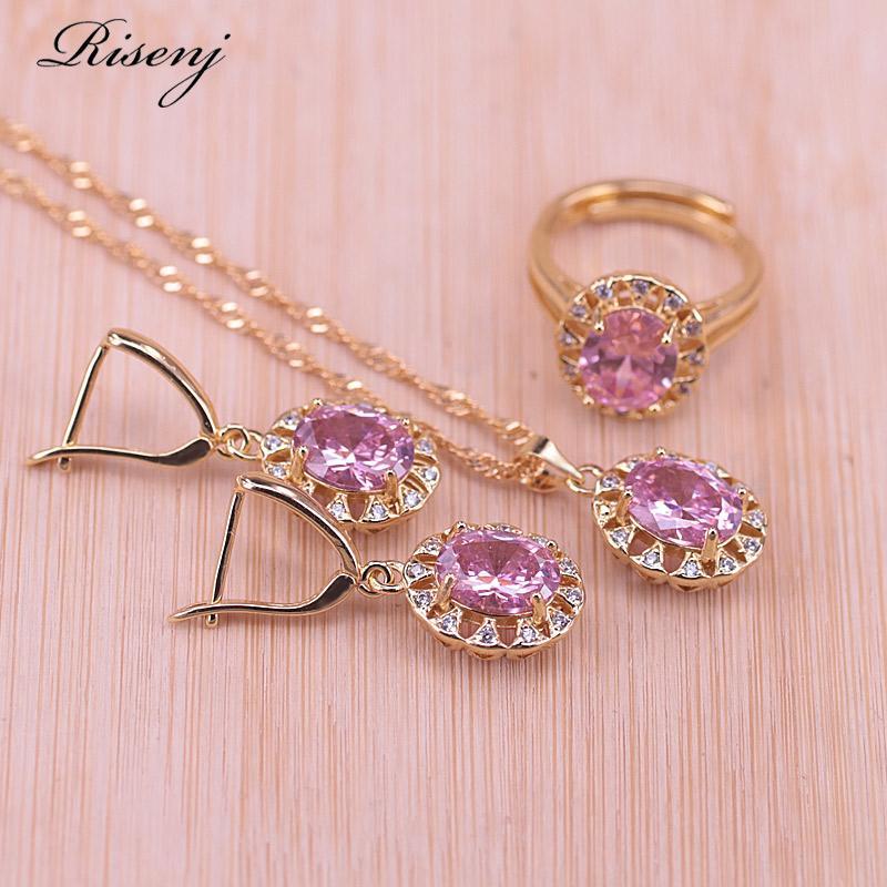Risenj Princess Pink Cristal Zircon traje cor do ouro Jóias Set ajustável Colar Anel Brincos Set Fast Ship