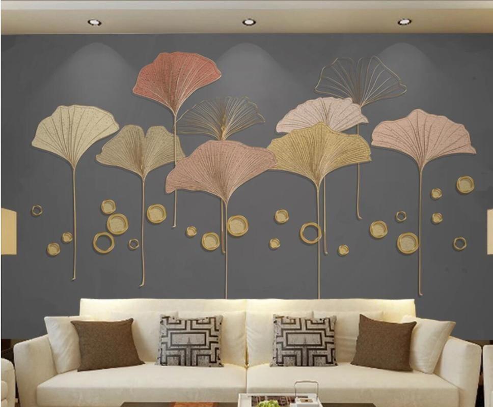Ginkgo Biloba Tapete dunklen Hintergrund Wandbild Wohnzimmer TV Hintergrund Wohnkultur MuralsTextured Wand-Papier Benutzerdefinierte
