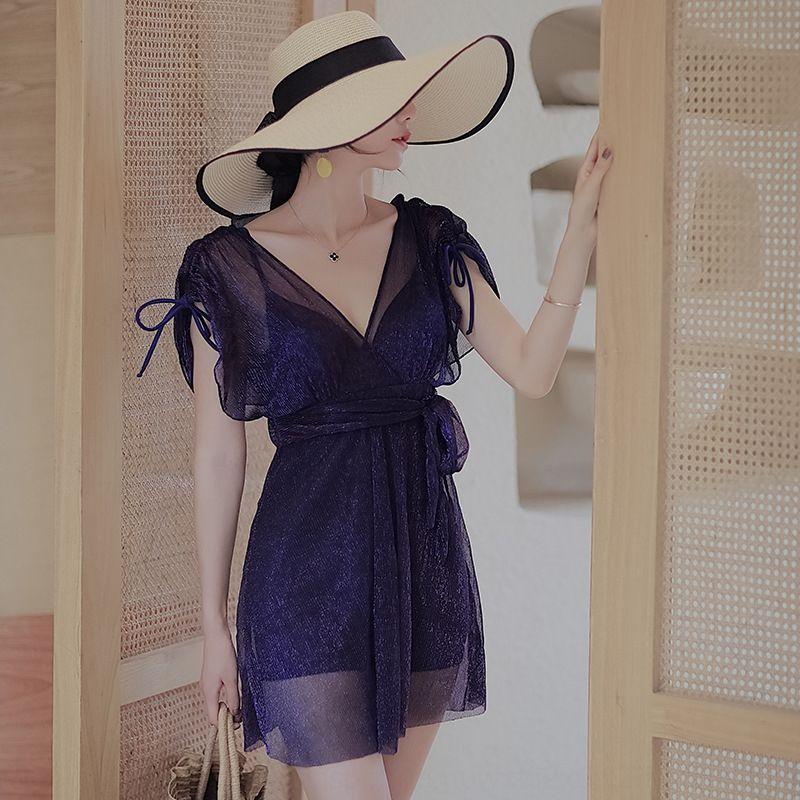 1bf0J 2020 Nuevo más grasa de gran tamaño de la moda de las mujeres vestido atractivo del traje de baño de una sola pieza se reunieron falda de grasa MM 200 jin traje de baño de aguas termales