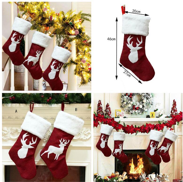 Weihnachtsstrümpfe Dekor Weihnachtsbaum Ornament Partydekoration Weihnachtsweihnachtsstrumpf Süßigkeit Socken Taschen Weihnachtsgeschenke Tasche 2 Style