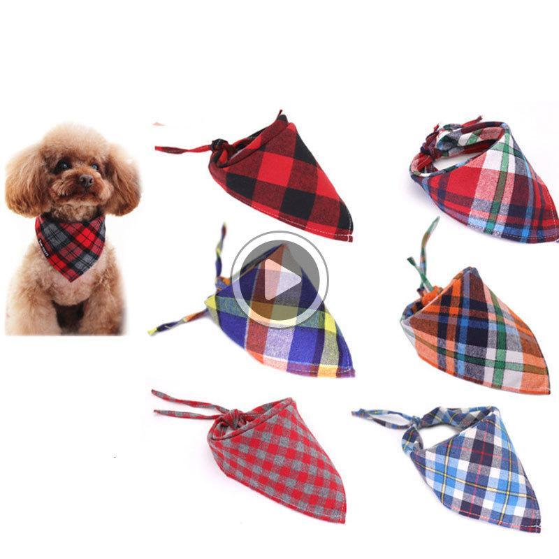 New Fashion Dog Pet Plaid Scarf Clothing Triangular Bandage Collar Cotton Scottish Saliva Towels Free Shipping Brad O5AT