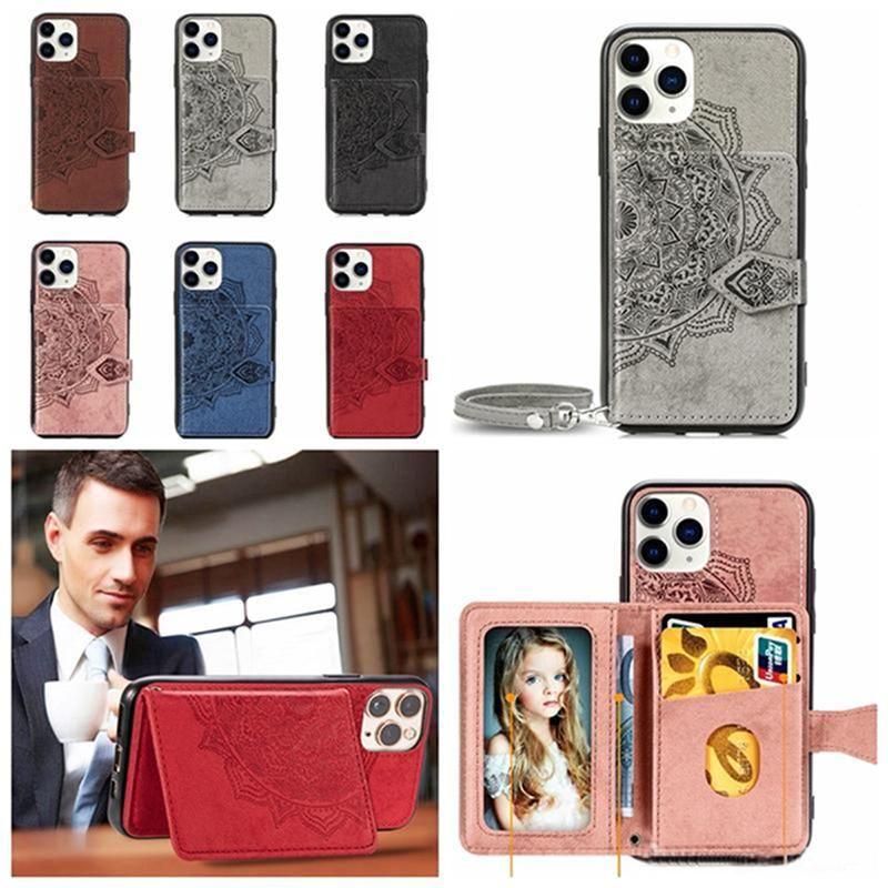 cgjxs Datura fleur Mandala Porte-monnaie en cuir carte d'identité de poche pour iPhone 11 Pro Max Xr Xs Max 6 7 8 Plus Samsung S20 Ultra plus S20