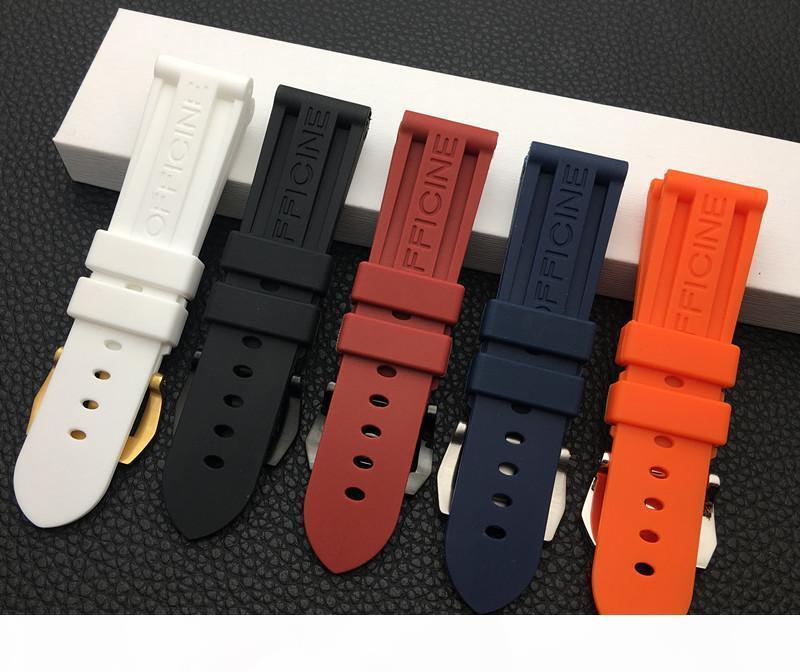 22mm 24mm 26mm Noir Bleu Rouge Orange Blanc Bracelet de montre en caoutchouc de silicone bracelet de rechange pour Panerai Outils Bracelet Boucle en acier T190620
