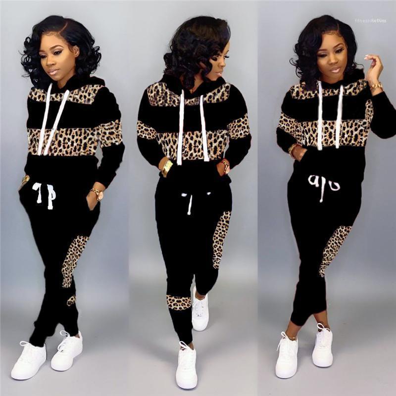 Pantaloni a matita con Pocket Belt Womens 2PCS Leopard Patchwork con cappuccio Felpe con cappuccio Inverno Autunno progettista delle donne Tute manica lunga Pullover