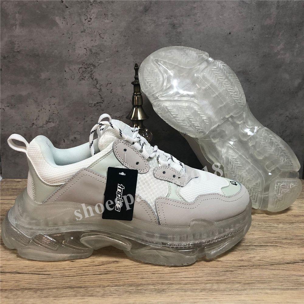 خصم باريس أحذية عارضة الثلاثي S واضح وحيد المدربين أبي حذاء حذاء رياضة الأسود المتضخم رجل إمرأة الراحة وفاز بالمركز الثاني Chaussures
