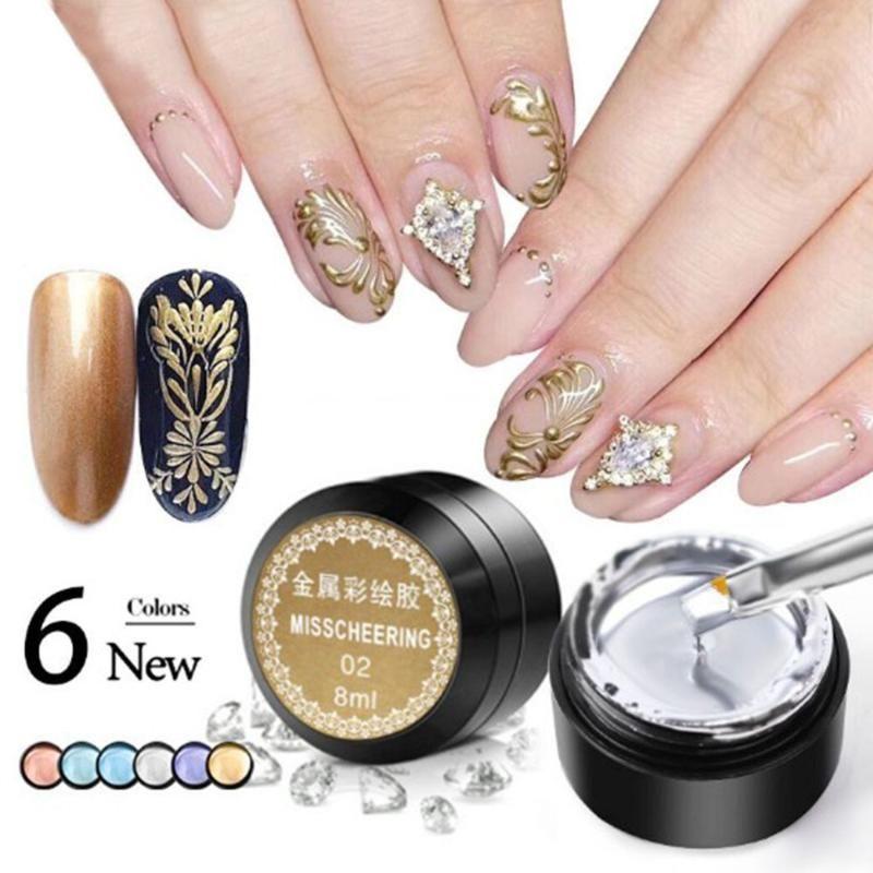 LED UV Gel effetto metallo Nail Gel Rose Gold Silver Colore Pittura timbratura Vernish durare polacco strumento manicure
