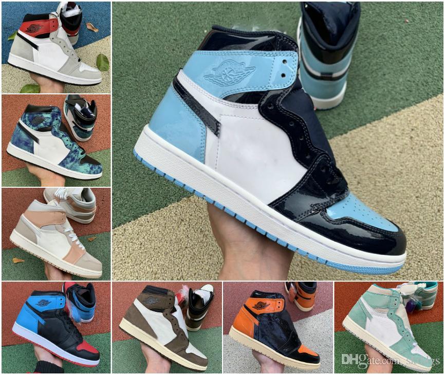 Jumpman 1 1s Hombre Basketball Zapatos inversa Bred Luz Gris humo de pino de las mujeres negras verdes zapatillas de deporte Negro Obsidiana Juego Real entrenadores deportivos unc