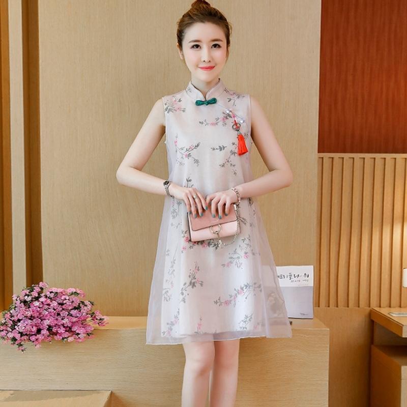 3UNuh 2020 Национальная Cheongsam юбки национального летний стиля Cheongsam улучшились середина длиной платья Длинного китайских новых женщин