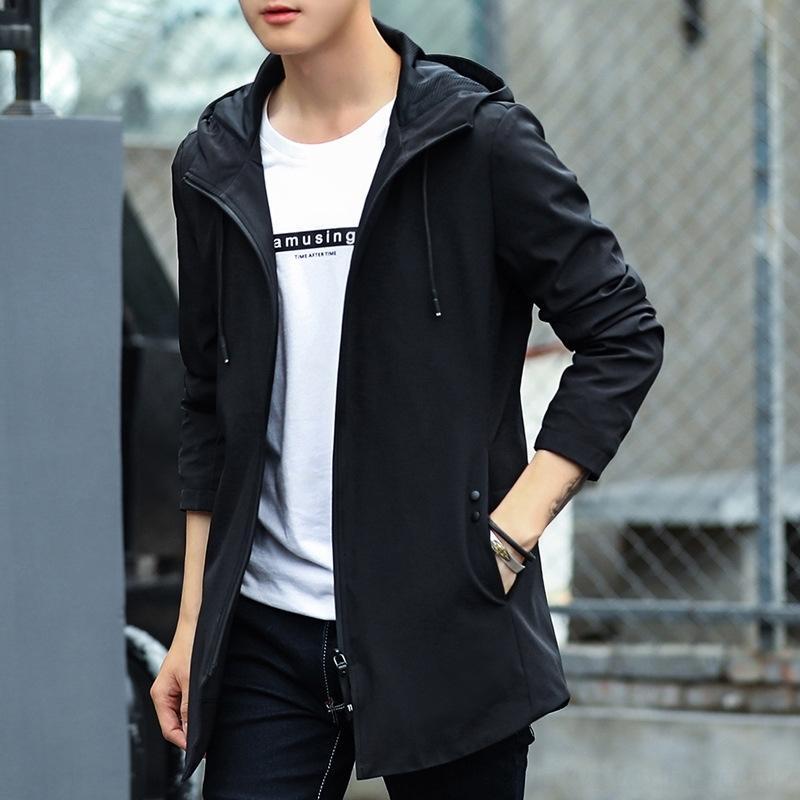 8Q6At PEPP simple, à capuche coréenne veste décontractée mi-longs sweat à capuche à la mode des hommes de vêtements pour hommes veste