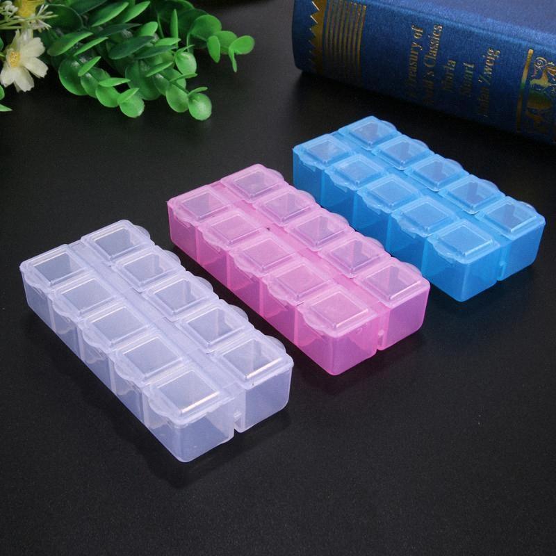 10 Slots Clear/Pink/ Plastic Empty Storage Box Nail Art Rhinestone Tools Jewelry Beads Display Storage Box Case Organizer Holder k1ug#
