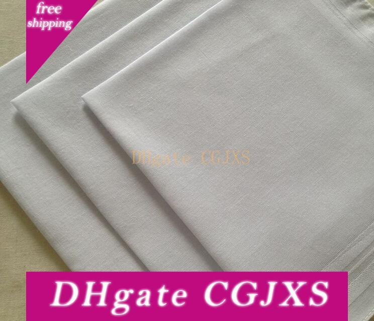 24pcs / Lot 100% coton couleur satin blanc Mouchoir Table Mouchoir Super Soft Pocket Remorqueurs carrés 34cm