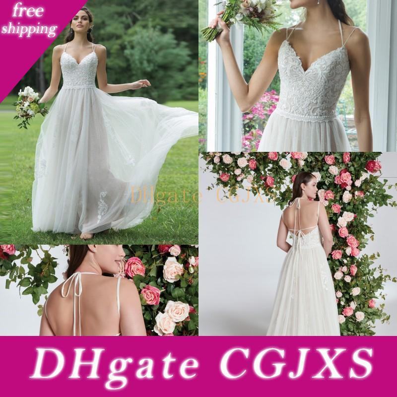 Beach A Line Wedding Dress Summer Bride Dresses Sexy V Neck Spaghetti Strap Tulle Appliques Lace Sleeveless Boho Wedding Gowns