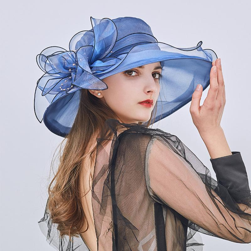 ВС Hat Женщины Mesh Пряжа Цветочные летние шляпы для женщин Lady Big Wide Волнистые Брим Пляж Hat Женский Sunhat