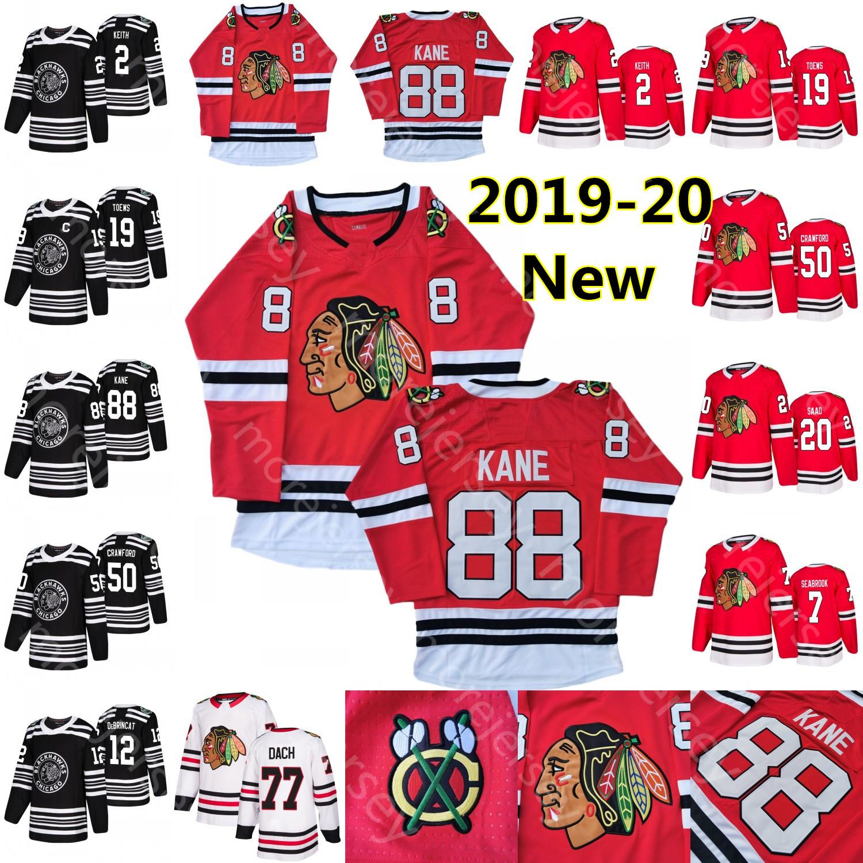Custom Chicago Blackhawks Jersey de hockey sur glace Duncan Keith Patrick Kane Kane Dach Jonathan Toews Corey Crawford Alex Debrincat Brent Seabrook Saad