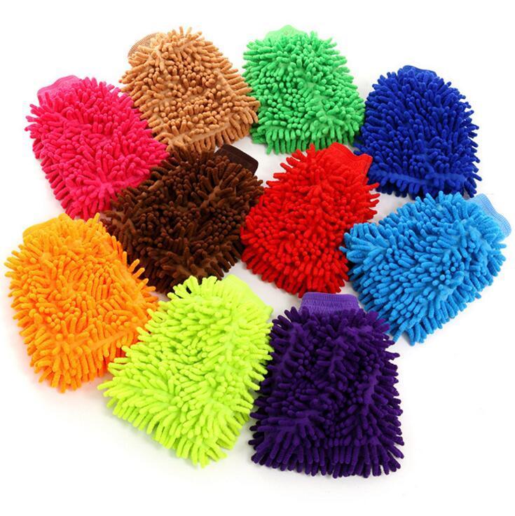 قفازات الشانيل لون الحلوى قفازات الشنيل تنظيف عالية الكثافة كورال قفازات غسل متعدد الاستخدامات على الوجهين الشنيل قفاز DHD698
