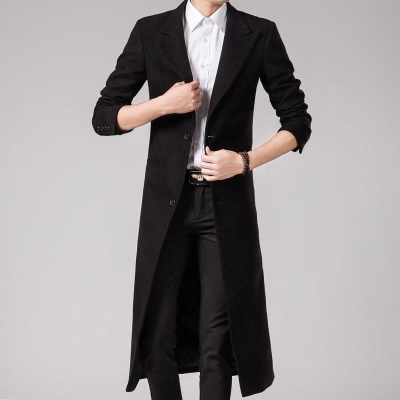 v3zdi zanja cuello fy8rV e invierno estilo coreano delgada en forma larga de los hombres de lana traje de color sólido de la moda otoño de abrigo rompevientos 2019 coa informal