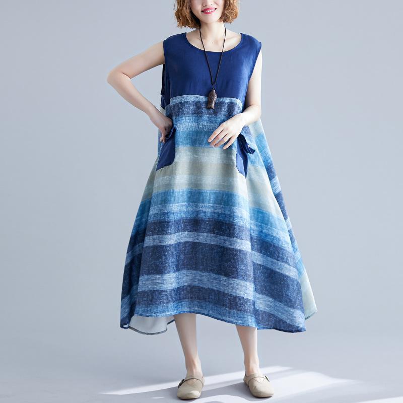 Johnature femmes manches Robes rayé poches 2020 Nouveau été en coton lin en vrac Femme Vêtements Robes Casual