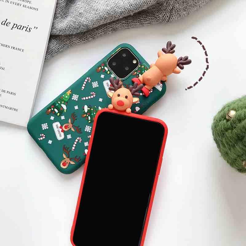 إلك الرسوم المتحركة ثلاثي الأبعاد عيد الميلاد مناسبة لأبل × حالة الهاتف المحمول X ماكس مجموعات / XR / iPhone11 / 7plus زوجين
