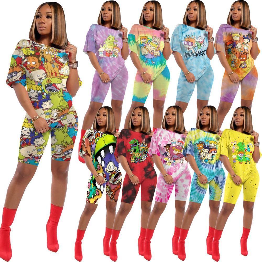 Tmustobe Kadın Baskılı Gevşek Günlük Pantolon Eşofman İki Adet Set 10 Renkler Artı boyutu Kısa Kollu Üst + Şort 2 Adet Suit CX200819