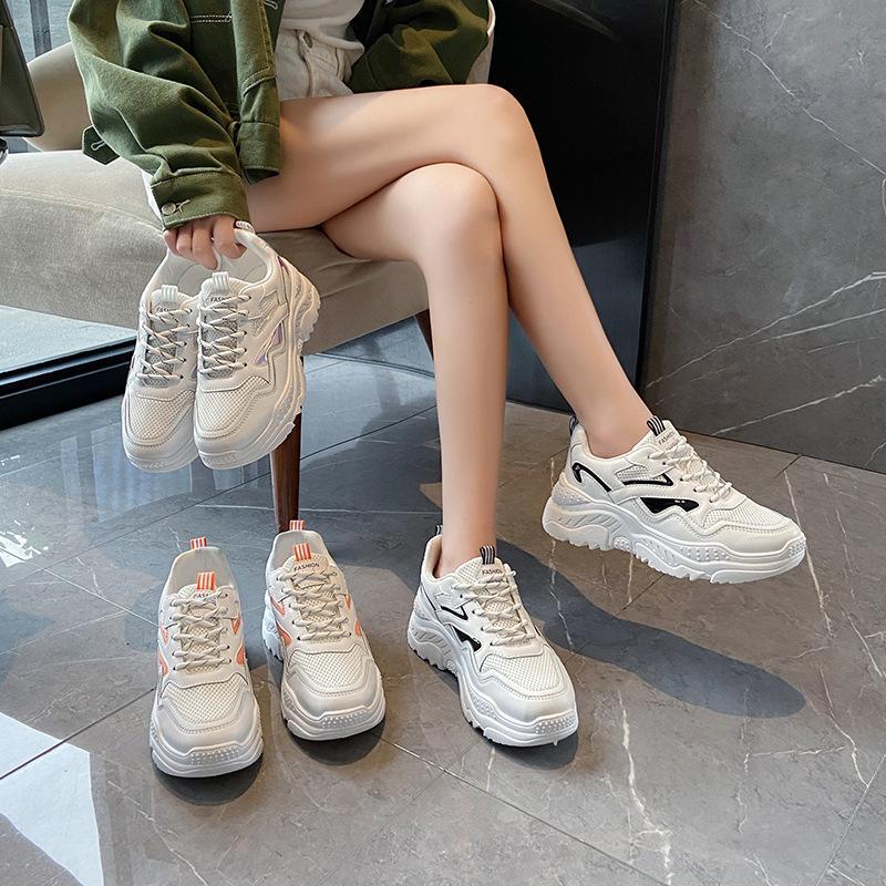 Dad Red Net Zapatos Mujeres Zapatos respirables 2020 Otoño Nueva Corea Ins manera de la plataforma zapatillas de deporte casuales
