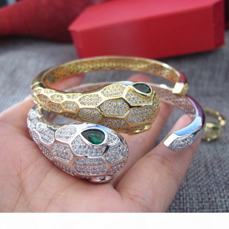 polsino del braccialetto del braccialetto del partito dei monili placcati di lusso Nuovo di FashionCZ diamante animale asfaltata oro 18k per le donne